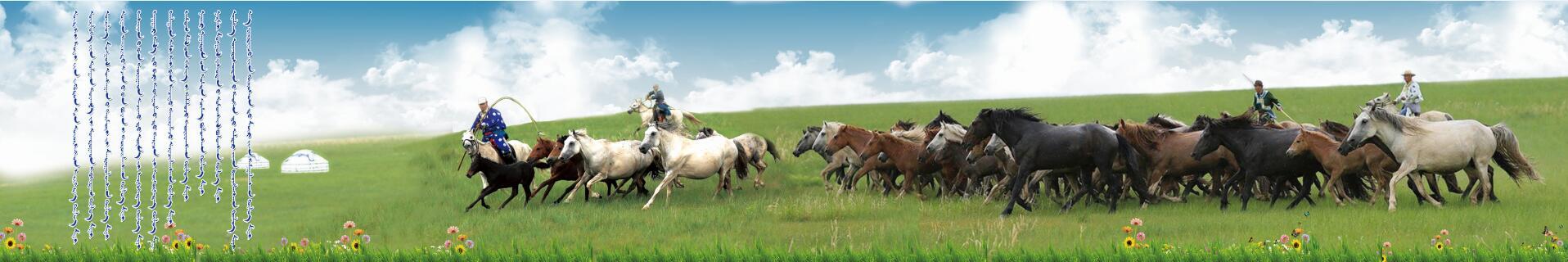 奔驰的马群和套马的汉子psd  第1张