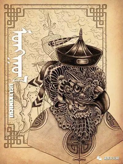 一组有着浓郁蒙古民族风格的插画作品 第12张