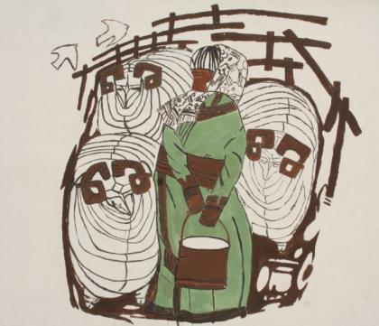 扎鲁特旗蒙中墙绘