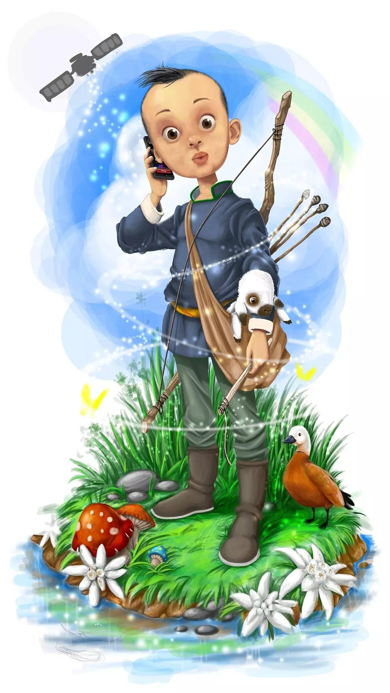 插画 | enkhtur bayrsaikhan笔下的蒙古族小孩 第4张