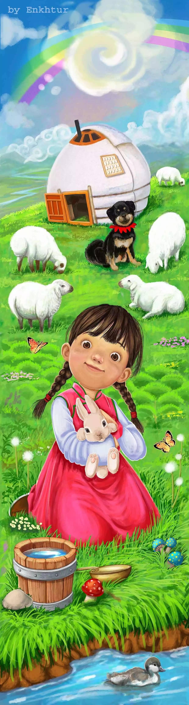 插画 | enkhtur bayrsaikhan笔下的蒙古族小孩 第10张