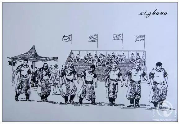 蒙古族绘画高手一组蒙古搏克手钢笔画像 第2张