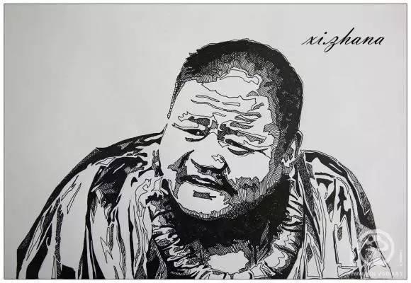 蒙古族绘画高手一组蒙古搏克手钢笔画像 第3张