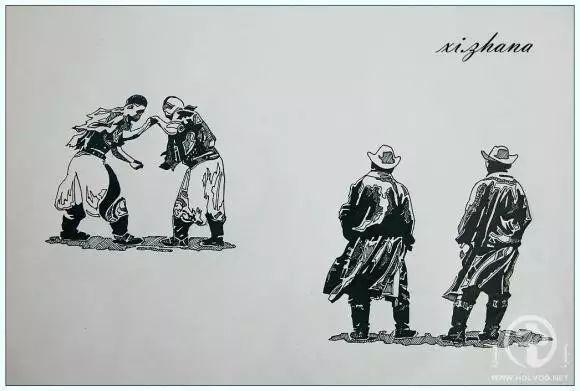 蒙古族绘画高手一组蒙古搏克手钢笔画像 第5张