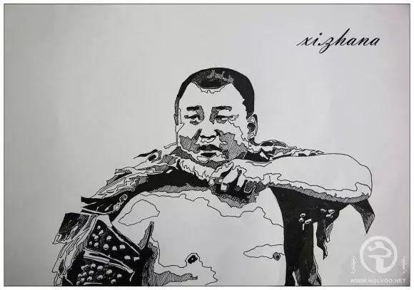 蒙古族绘画高手一组蒙古搏克手钢笔画像 第8张