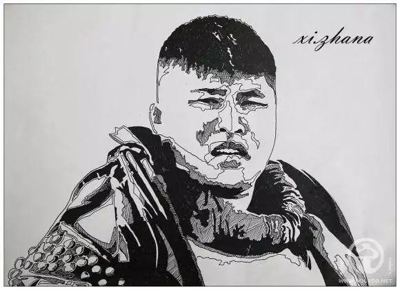 蒙古族绘画高手一组蒙古搏克手钢笔画像 第12张