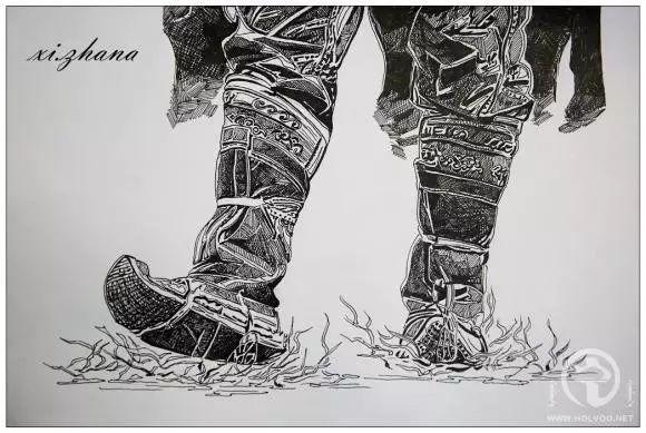 蒙古族绘画高手一组蒙古搏克手钢笔画像 第10张