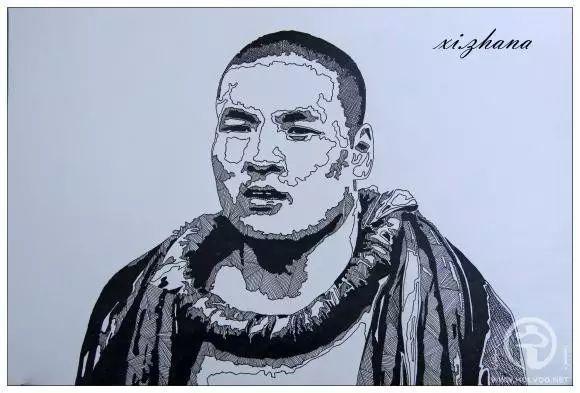 蒙古族绘画高手一组蒙古搏克手钢笔画像 第11张