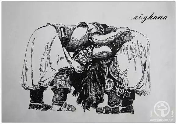 蒙古族绘画高手一组蒙古搏克手钢笔画像 第13张