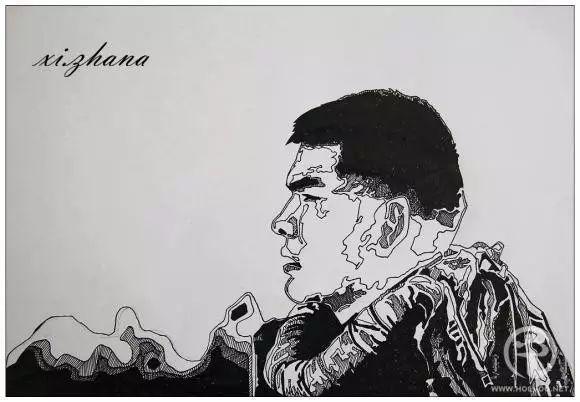 蒙古族绘画高手一组蒙古搏克手钢笔画像 第16张