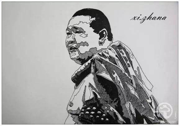 蒙古族绘画高手一组蒙古搏克手钢笔画像 第15张