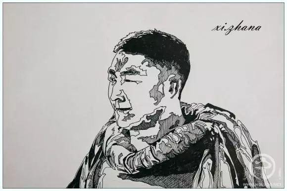 蒙古族绘画高手一组蒙古搏克手钢笔画像 第14张