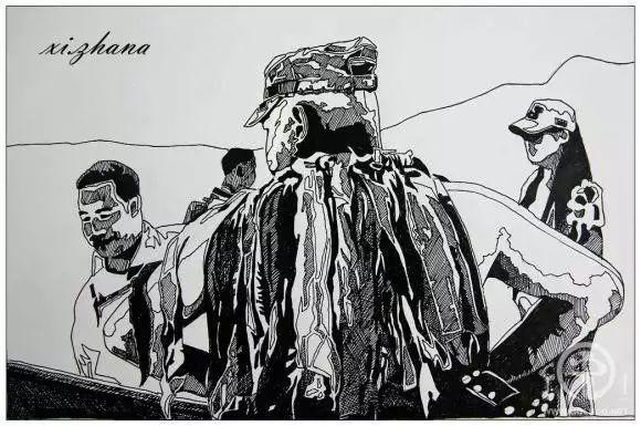 蒙古族绘画高手一组蒙古搏克手钢笔画像 第17张