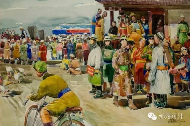 【经典】蒙古国上世纪绘画作品,那时的人那时的风景~