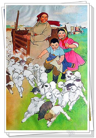 年华风格的蒙古题材画 第1张