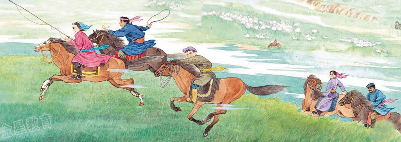 年华风格的蒙古题材画 第6张