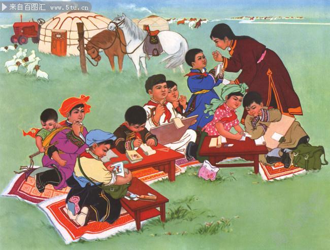 年华风格的蒙古题材画 第5张