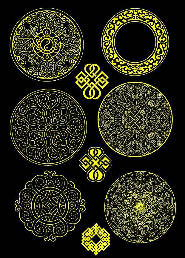 蒙古图案--圆形图案psd格式 第1张