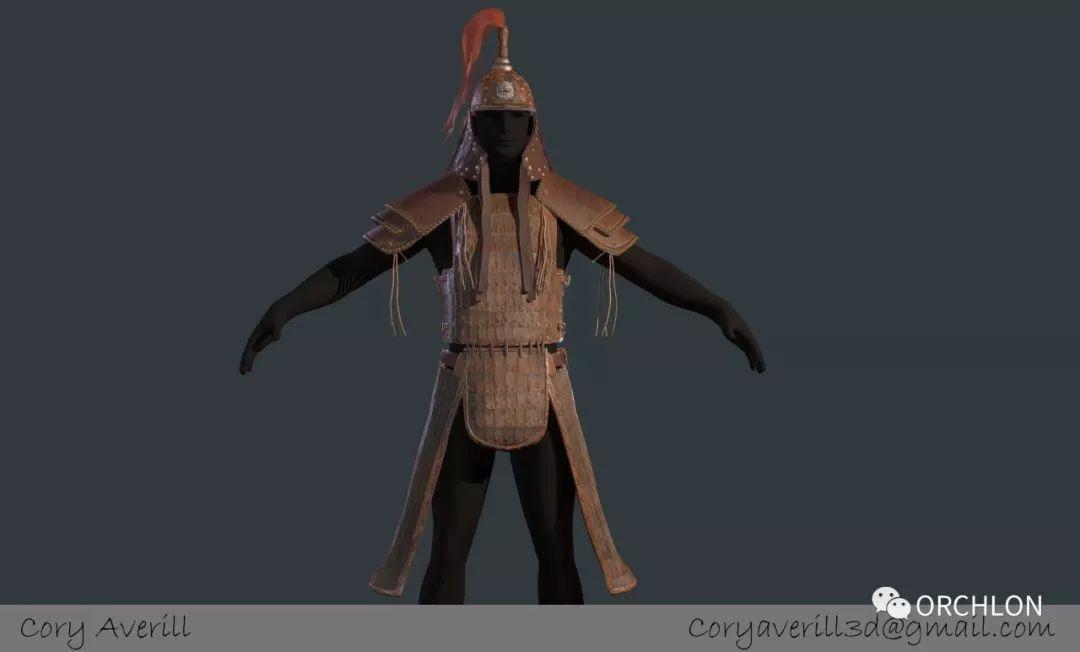 古代蒙古步兵盔甲3D模型设计