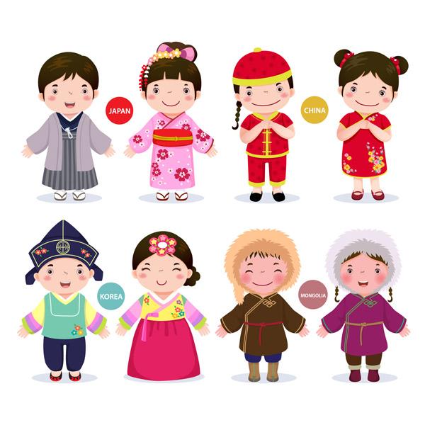 亚洲儿童(蒙古)矢量