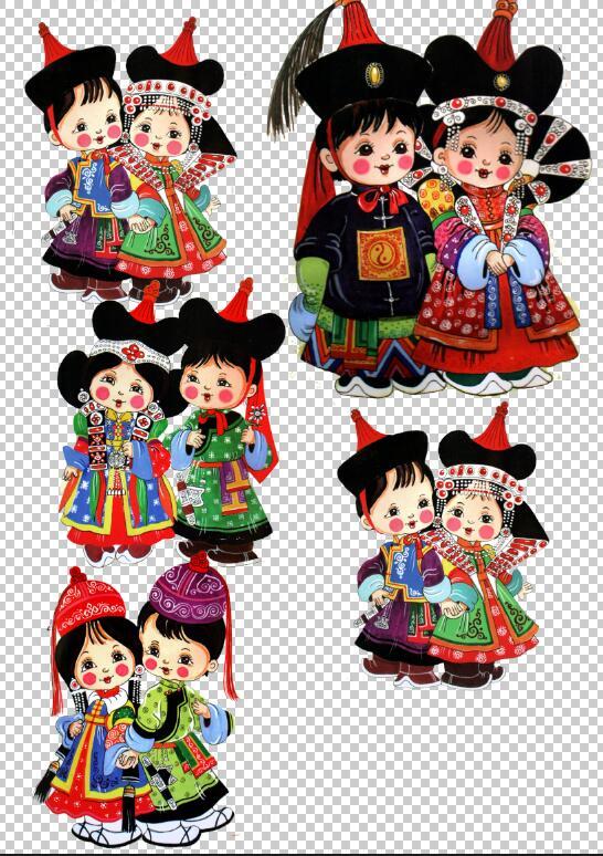 蒙古国儿童卡通画(psd)