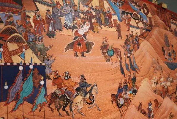 14米长的成吉思汗绘画作品亮相蒙古国乌兰巴托 第4张