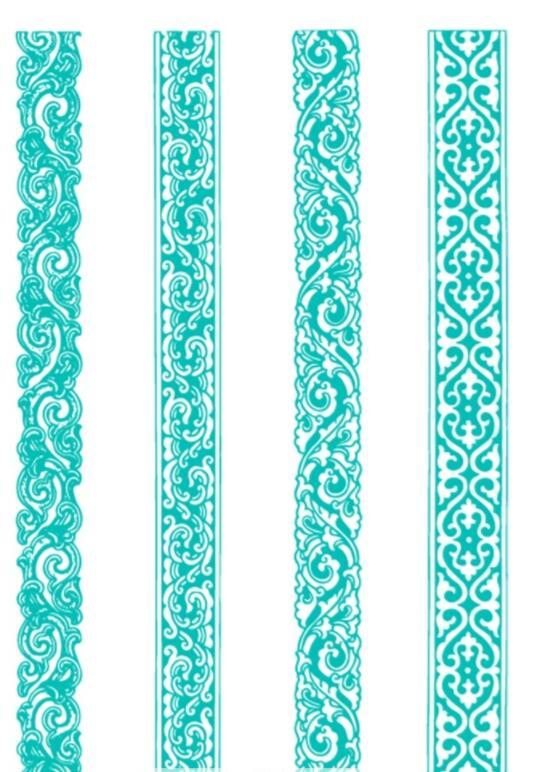 蒙古植物形状边框图案2