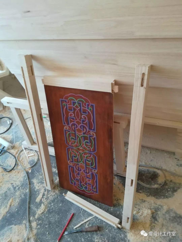 从图纸到实物,我们一起走过 彩绘蒙古族风格立柜的制作过程展示 第18张
