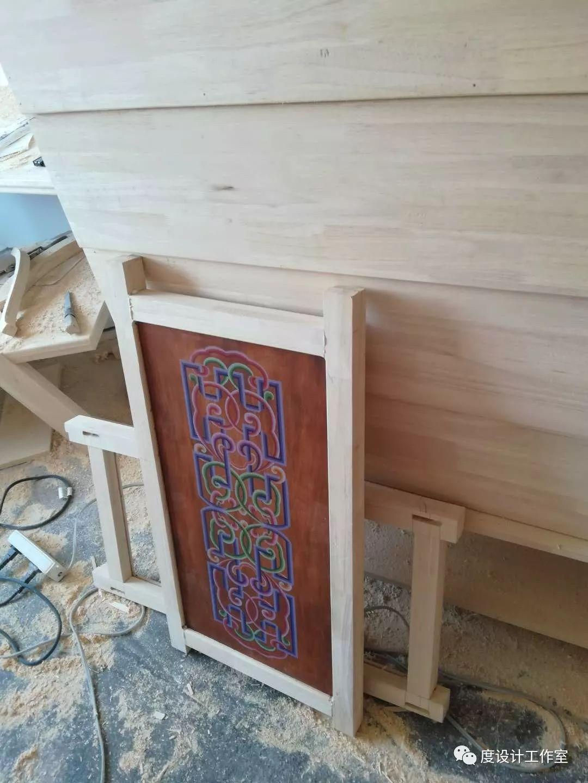 从图纸到实物,我们一起走过 彩绘蒙古族风格立柜的制作过程展示 第19张