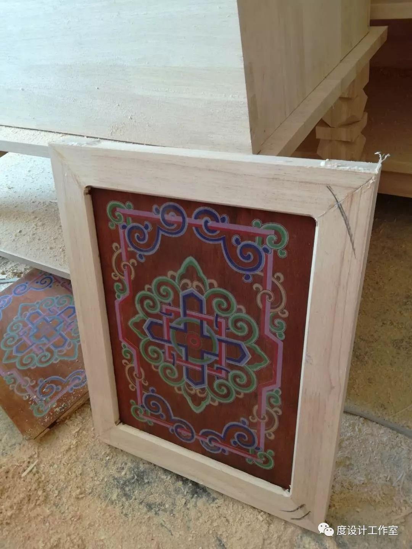 从图纸到实物,我们一起走过 彩绘蒙古族风格立柜的制作过程展示 第24张