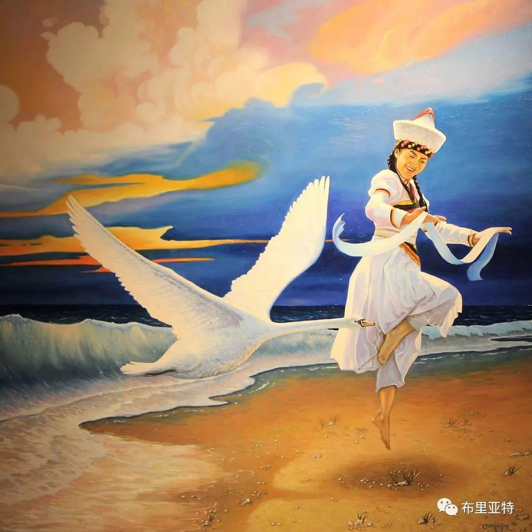 蒙古国90后自由画家甘·巴雅尔作品欣赏,浓浓的天鹅神话风 第3张