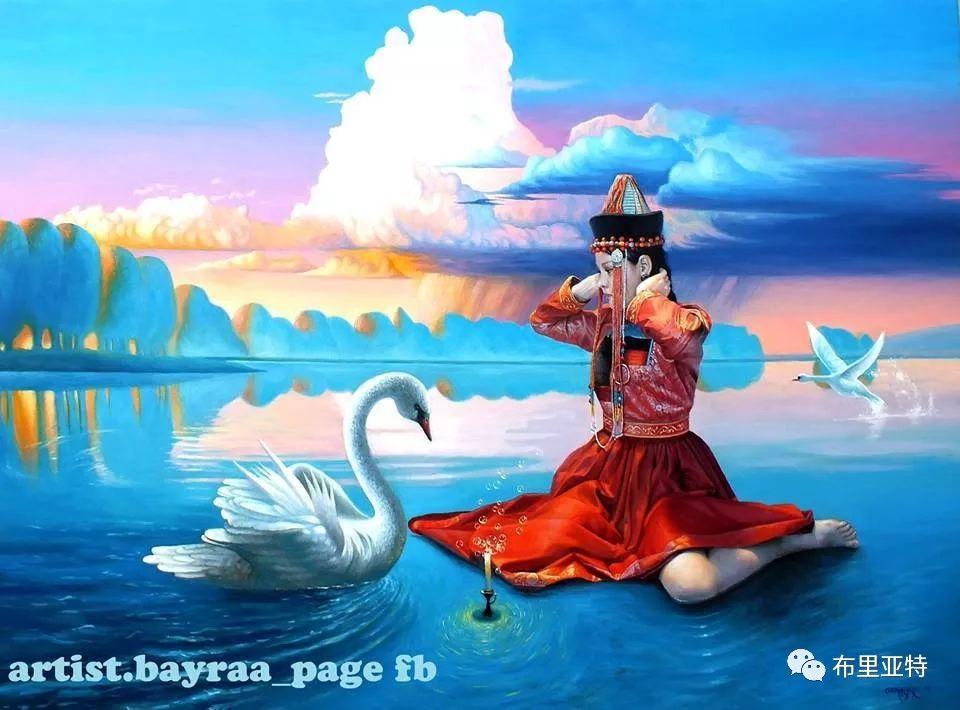 蒙古国90后自由画家甘·巴雅尔作品欣赏,浓浓的天鹅神话风 第2张