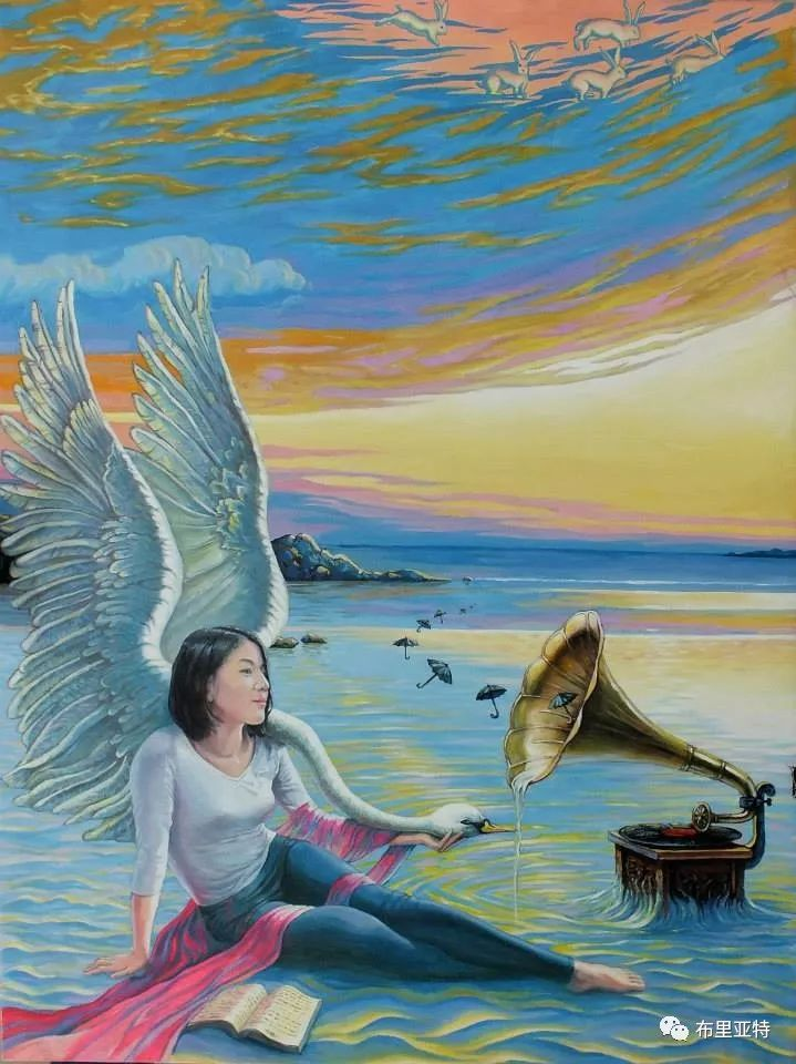 蒙古国90后自由画家甘·巴雅尔作品欣赏,浓浓的天鹅神话风 第7张
