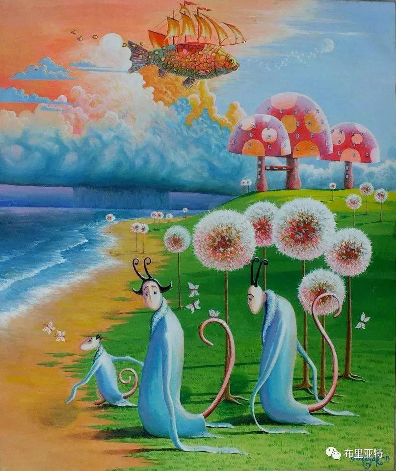 蒙古国90后自由画家甘·巴雅尔作品欣赏,浓浓的天鹅神话风 第23张