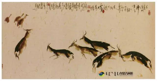 他的画里包含了整个草原,画家萨纳巴特尔作品欣赏 第6张