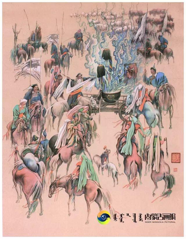 他的画里包含了整个草原,画家萨纳巴特尔作品欣赏 第4张