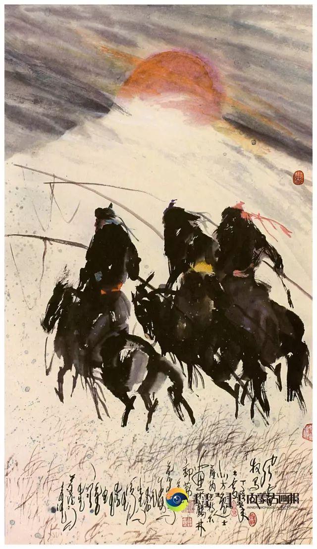 他的画里包含了整个草原,画家萨纳巴特尔作品欣赏 第13张