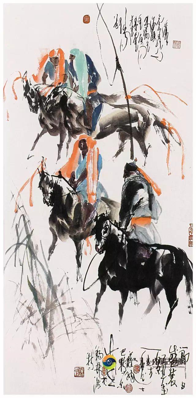 他的画里包含了整个草原,画家萨纳巴特尔作品欣赏 第14张