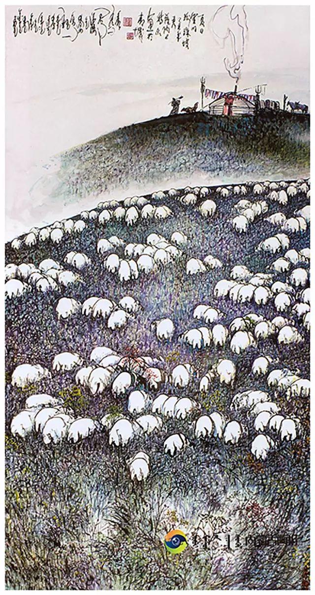 他的画里包含了整个草原,画家萨纳巴特尔作品欣赏 第15张