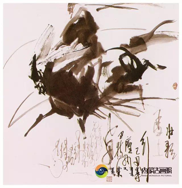 他的画里包含了整个草原,画家萨纳巴特尔作品欣赏 第17张