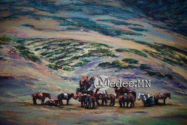 """蒙古国艺术家协会举办以""""秋""""为主题的艺术作品展欣赏 第10张"""