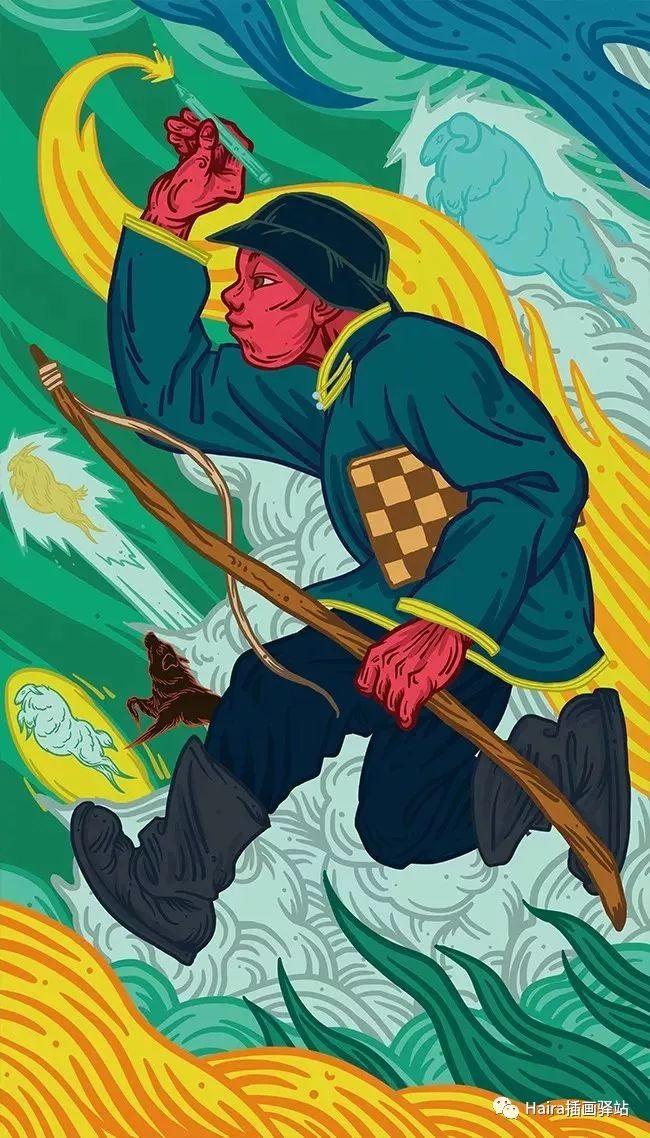 《游牧印迹》蒙古族游牧生活插画设计 第11张