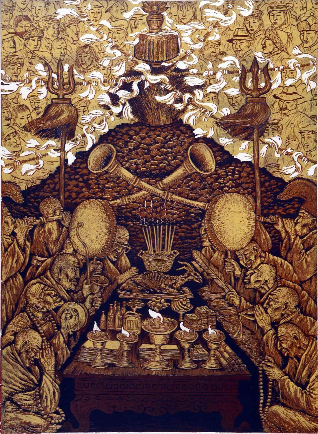 科尔沁文化名片 | 蓬勃发展的奈曼版画 第25张 科尔沁文化名片 | 蓬勃发展的奈曼版画 蒙古画廊
