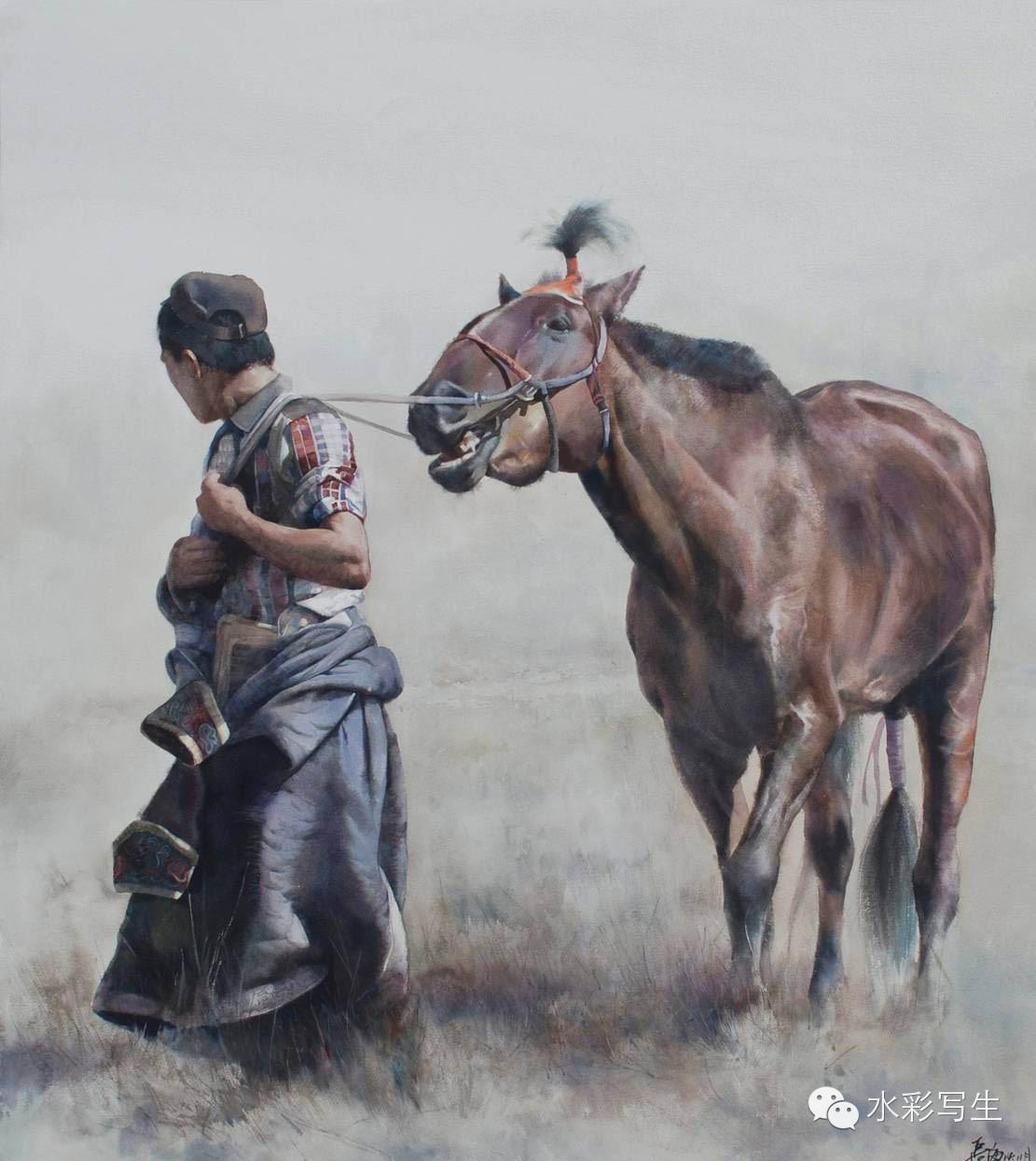 【蒙古人】草原骏马——长海水彩作品欣赏 第2张