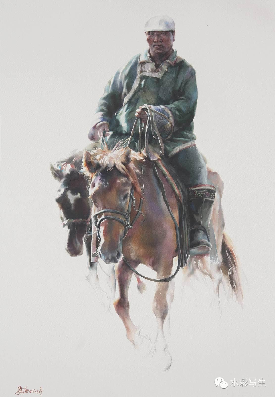 【蒙古人】草原骏马——长海水彩作品欣赏 第6张