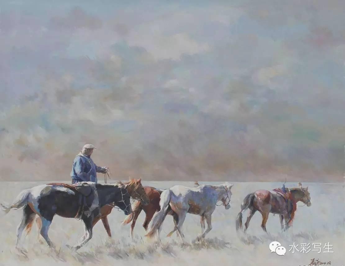 【蒙古人】草原骏马——长海水彩作品欣赏 第5张