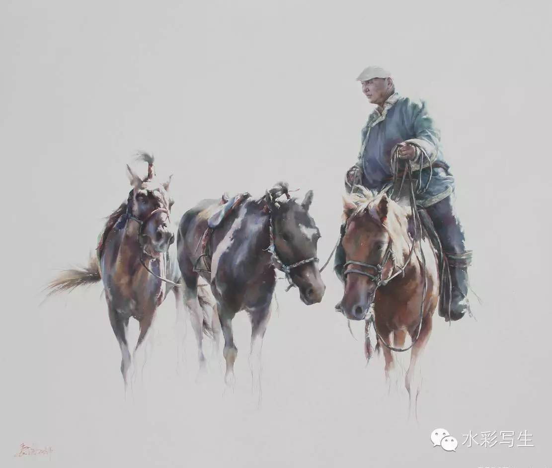 【蒙古人】草原骏马——长海水彩作品欣赏 第8张