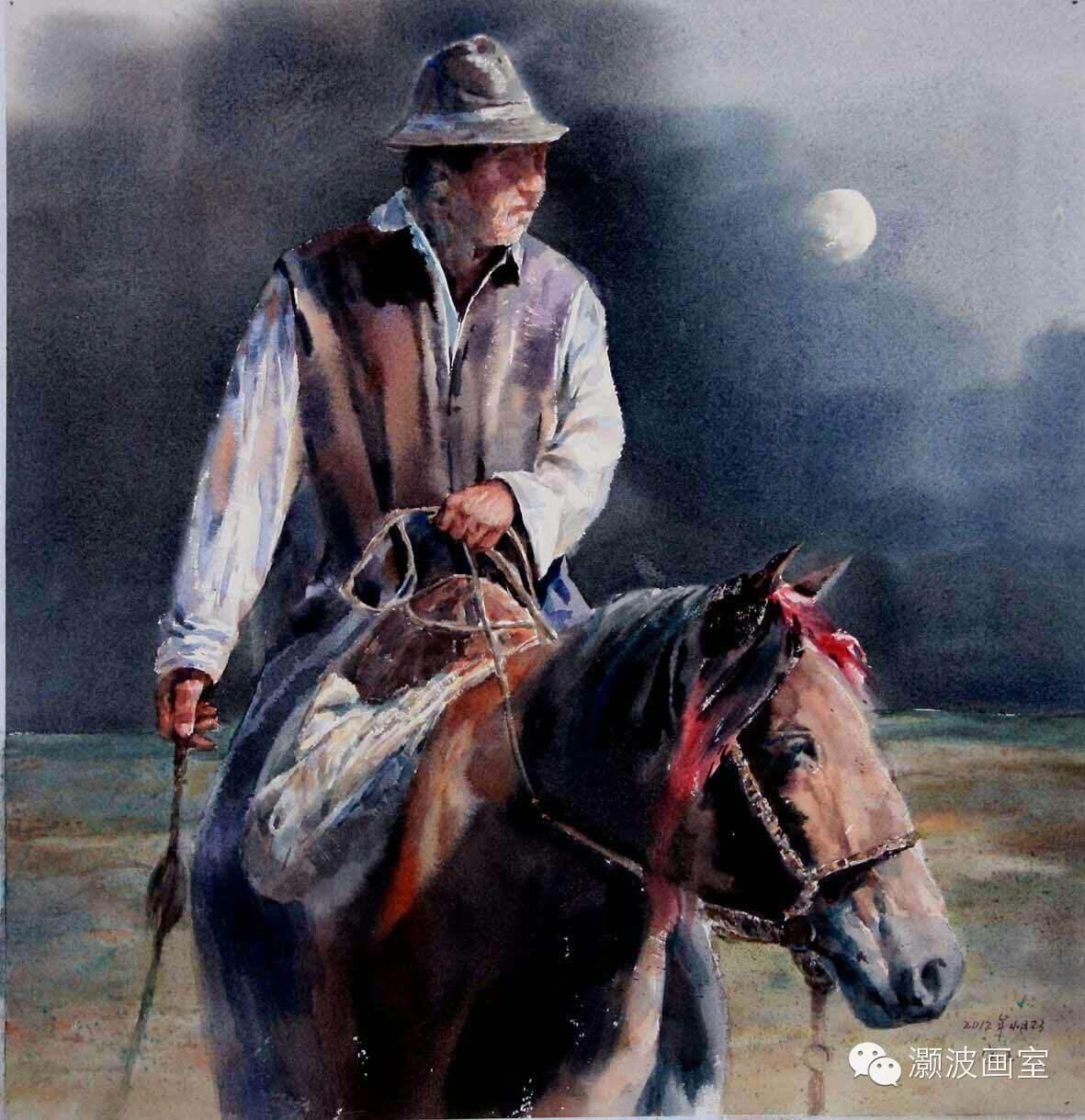 著名蒙古族青年水彩画家宝玉作品欣赏 第7张