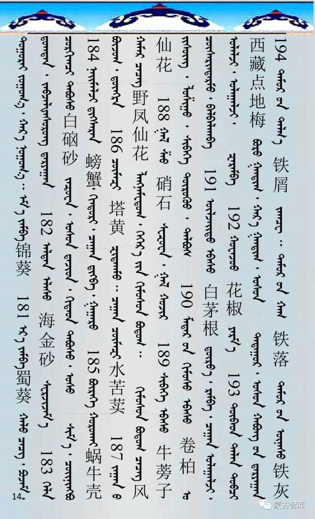 蒙古药材的蒙古、藏、汉译名称对照 第15张