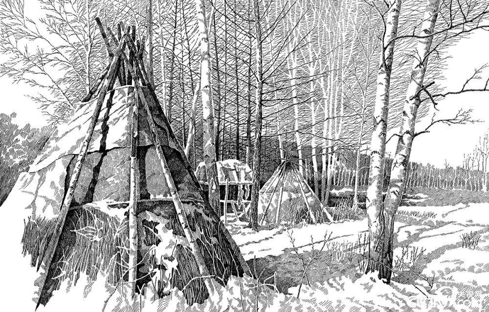 【央视画廊】蒙古族画家铁钢的钢笔画 第4张
